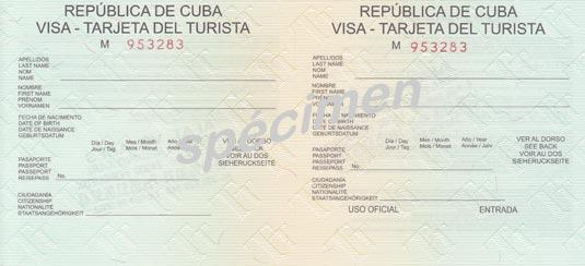 Cuba Linda, Carte de tourisme, Visa Cuba